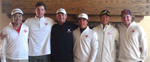 Saint Mary's golf at the WCC: Left to right Jonathon De Los Reyes, <br>Mac Marr, Ben Geyer, Dalan Refioglu, Alex Bungert, Cody Robinson