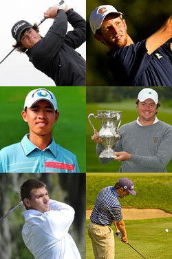 Clockwise from top left: Alan Dunbar,<br> Steven Fox, Nathan Smith, Michael<br> Weaver, T.J. Vogel, Tianlang Guan