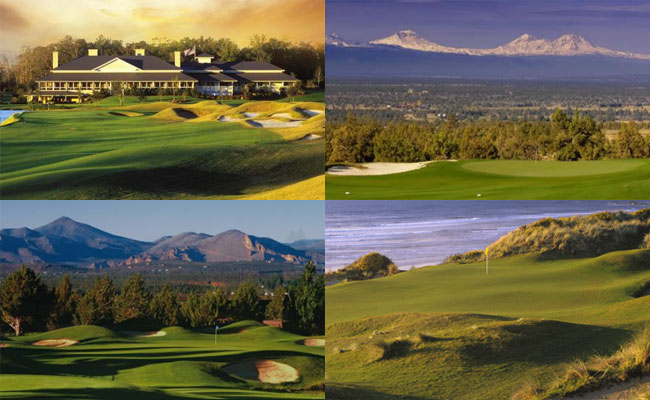 Clockwise from top left: World Amateur, Pac-Am, Best of Bend and Two-Man Links host courses