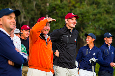 Charlie Danielson (center) with captain Spidey Miller<br>Photo by USGA/Chris Keane