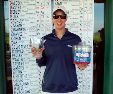 Jonny Baxter exercising an AmateurGolf.com<br>tradition; holding up Red Vines with his winning trophy