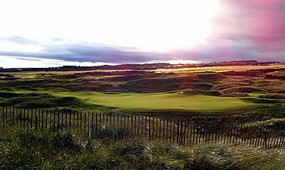 Sunset at Royal Aberdeen Golf Club in Scotland