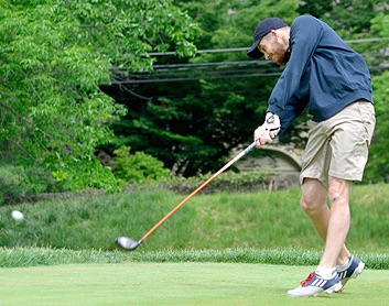 Scott McNeil lets one fly at St. Davids Golf Club
