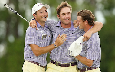 Zach Wright (left) and Brandon Pierce (right) celebrate<br>with Ben Taylor (Photo by Tracy Wilcox/Golfweek)