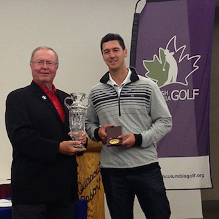 David Atkinson, President Of British Columbia Golf, presents the trophy to Belton <br>(credit: Alfie Lau and British Columbia Golf Association)