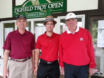 Tim Troy, winner Ryan Grassel, and Dennis Troy<br>photo courtesy Zigfield Troy Golf