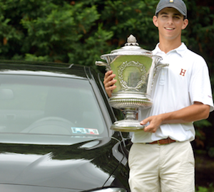 Cole Berman posing next to the title<br>sponsor BMW (GAP photo)
