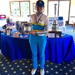 Fai Khamborn with her Women's Western<br>trophy (Photo courtesy WWGA)