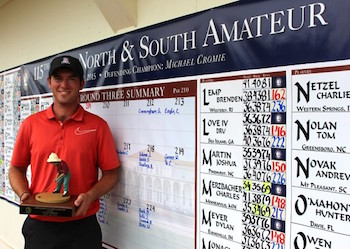 George Cunningham with Putter Boy trophy<br> after winning medalist honors<br>Photo courtesy of Pinehurst.com (Photo by Sarah Campbell)