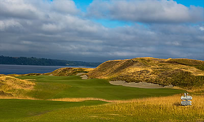 The first hole at Chambers Bay <br>heads out towards Puget Sound<br>USGA Photo