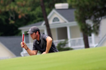 George Cunningham eyes a putt during match play <br>Courtesy of Pinehurst (Photo by Sarah Campbell)