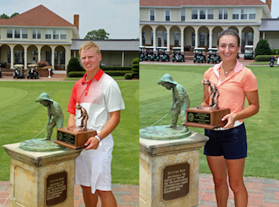 Easton Paxton and Christina Parsells win North & South Junior AM<BR>Thomas Toohey Brown photo