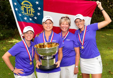 The victorious Georgia squad, from left: Margaret<br>Shirley, Lauren Lightfritz, Emilie Meason,<br>non-playing captain Belinda Marsh