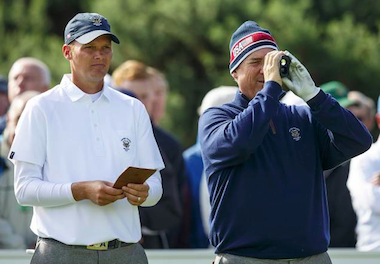 2015 Walker Cup teammates Scott Harvey and Mike<br>McCoy, who are the two most recent U.S.<br>Mid-Amateur champions (Chris Keane/USGA)