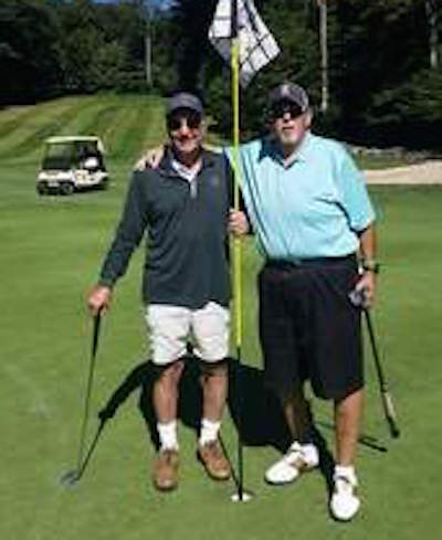 George Litz, left, and Ed Bragger each shot a hole-in-one <br>on No. 3 at the Pocono Farms CC <br>Photo courtesy of Pocono Record