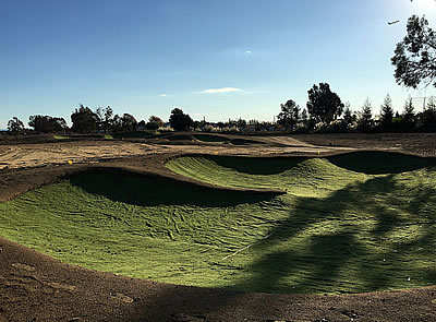 The bunkers at Alameda South will provide plenty of drama<br>- note the upcycling of worn out artificial turf