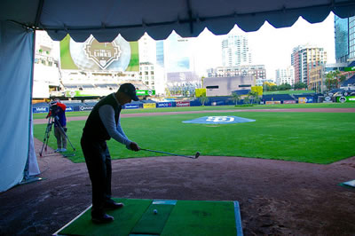 Setting up for the inaugural shot at The Links at Petco Park