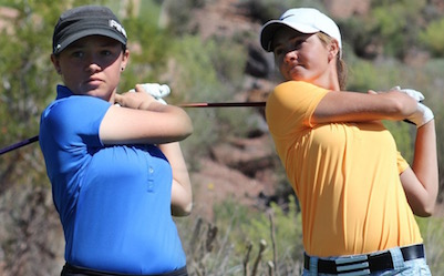 Kiselya Plewe and Gracie Richens swung their way to Utah Women's Spring Open <br>(Utah Golf Association Photo)</br>