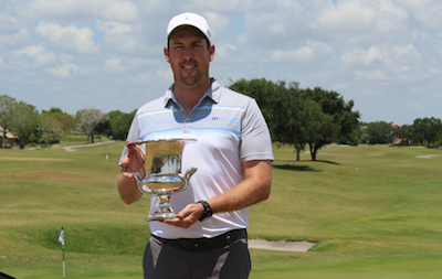 Michael Connors stands with Florida Mid-Amateur trophy <br>(Florida Golf Association Photo)</br>