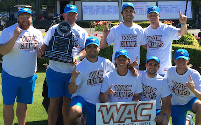 UMKC celebrates first WAC title in school history <br>(UMKC Photo)</br>