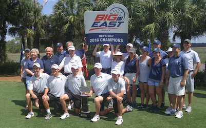 The Georgetown contingency celebrates Big East title <br>(University of Georgetown Photo)</br>
