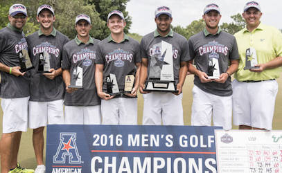 USF celebrates second straight AAC title <br>(USF Photo)</br>
