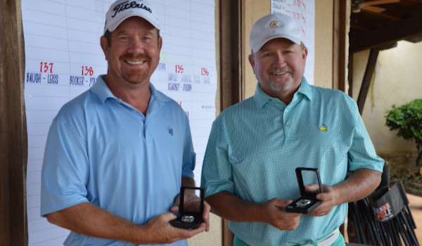 Trey Hallmark and Terrence Miskell are all smiles after winning Texas Four-Ball <br>(Texas Golf Association Photo)</br>