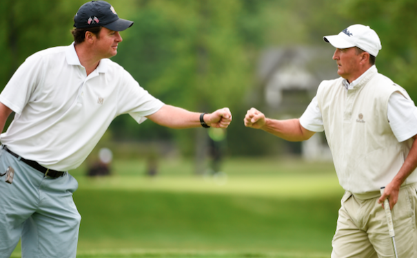 Defending champions Nathan Smith (L) and Todd White (R) during first round <br>(USGA Photo)</br>