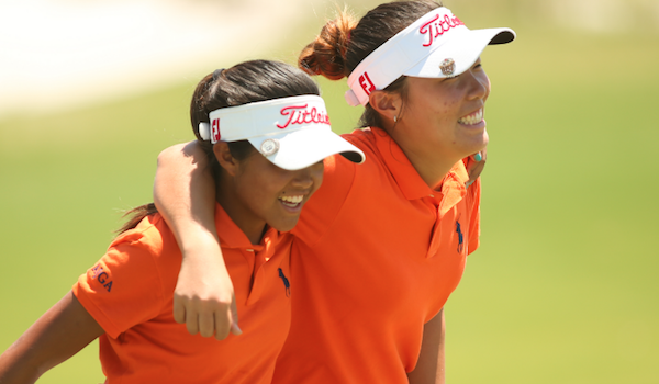 13-year-olds Angelina Kim and Briana Navarrosa all smiles as they advance to semifinals <br>(Photo Courtesy of USGA)</br>