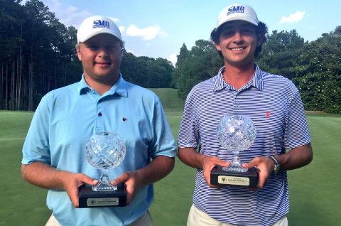 Zach Herold and Bryce Miley with medalist trophy's at South Carolina Four-Ball <br>(S. Carolina Golf Association Photo)</br>