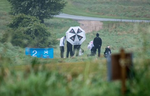 Weather story of day one at the Scottish Open Amateur <br>(Scottish Golf Union Photo)</br>