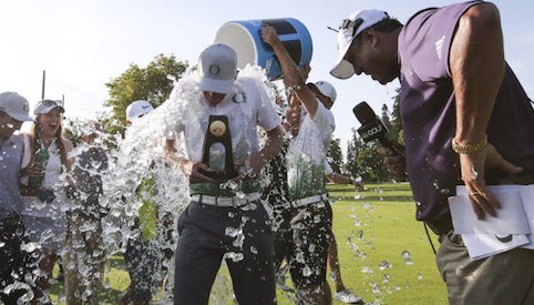Aaron Wise soaks in his NCAA Division I medalist victory <br>(Oregon Athletics Photo)</br>