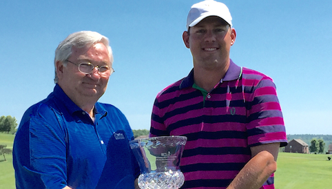 Denver Haddix Jr. holds Kentucky Match Play trophy <br>(Kentucky Golf Association Photo)</br>