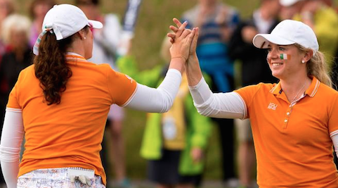 Bronte Law (right) and Olivia Mehaffey win two matches on Saturday at Curtis Cup <br>(USGA Photo)</br>