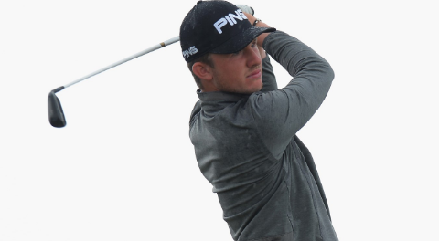 Connor Syme watches a shot during British Amateur match play <br>(R&A Photo)</br>