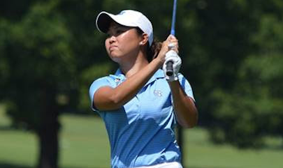 Bryana Nguyen watches a shot during the NC Women's Amateur <br>(Carolinas Golf Association)</br>