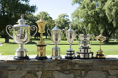Trophies from the wide variety of majors staged at Oak Hill CC<br>Oak Hill is site of the J.R. Williams Four-Ball in September