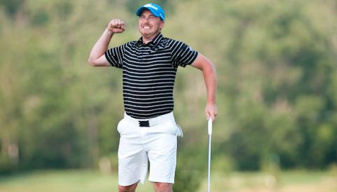 Bryan Smtih celebrates his Vermont Amateur win <br>(Photo Courtesy of Austin Danforth/Burlington Free Press)</br>
