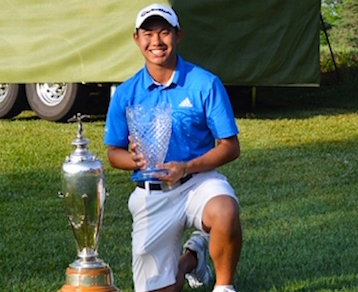 Collin Morikawa after 2015 Trans-Mississippi title <br>(Photo courtesy of Trans-Miss Golf Association)</br>