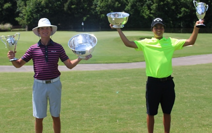 Linus Samuelsson (L) and Fred Biondi (R) celebrate Florida Junior Boys titles <br>(FSGA Photo)</br>