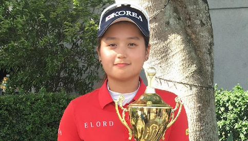 Hye-Jin Choi after winning a junior qualifying event <br>(Golf Coast Bulletin Photo)</br>
