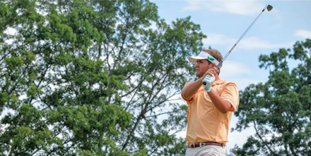 Mark Lawrence Jr. tees off on No. 13 on Friday <br>(VSGA Photo)</br>