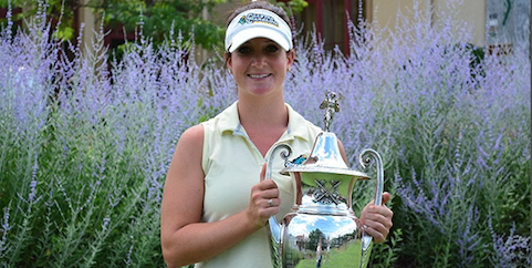 Bailey Cocca with NYS Women's Amateur trophy <br>(NYSGA Photo)</br>