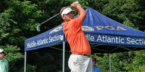 Mark Lawrence Jr. tees off No. 1 on Saturday <br>(VSGA Photo)</br>