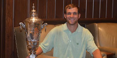 Christian Sease sits with Carolinas Amateur trophy <br>(Carolinas Golf Association Photo)</br>