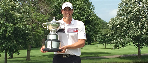 Nate Dunn with third Iowa Amateur championship trophy <br>(IGA Photo)</br>