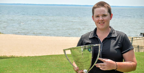 Abby Portyrata once more holding the VSGA Amateur trophy <br>(VSGA Photo)</br>