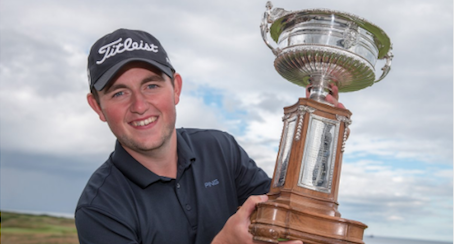 George Duncan holds Scottish Amateur trophy <br>(Scottish Golf Photo)</br>
