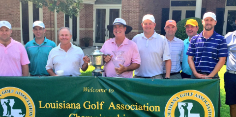Robbie McWilliams (center) following Louisiana Mid-Amateur title <br>(LGA Photo)</br>