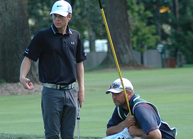 Joe Highsmith with caddie during Wednesday's second round <br>(WSGA Photo)</br>